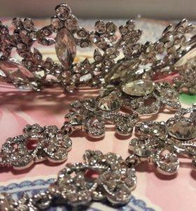 Корона(диадема, тиара) и серьги. Свадебные