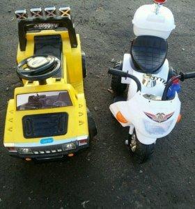 Детский мотоцикл и джип
