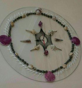 Картина часы из ракушки