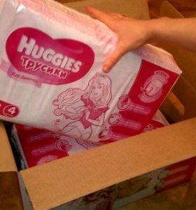 Трусики-подгузники huggies 4 для девочек 52 шт.