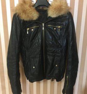 Кожаная зимняя  куртка женская