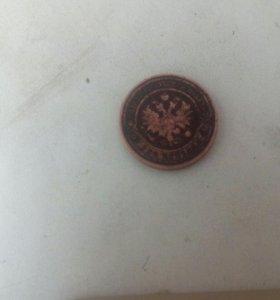 Монета 1909 года 2 копейки спб