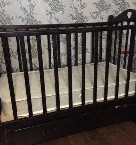 Детская кровать+кокосовый матрас, комплект в крова