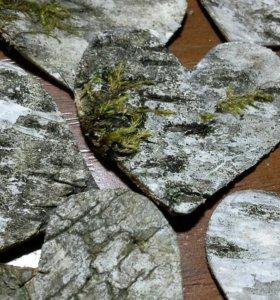 Сердечки из бересты для декора и флористики
