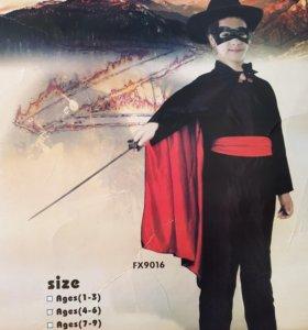 Костюм новогодний Zorro на 7-9 лет