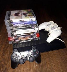 PS3 с 7 дисками и 2 джойстиками.500 гигабайт