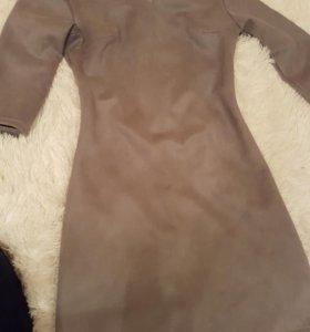 Платье вельвет серое