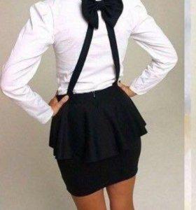 Дизайнерская чёрная юбка