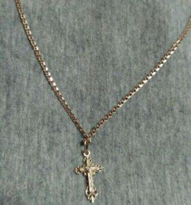 Цепочка золотая с крестиком 585 пр, 6.5 гр, 58 см.
