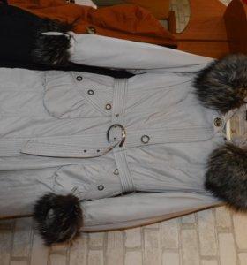 Пуховик Пехора теплая с мехом из чернобурки