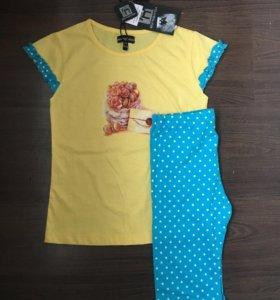 Новые футболка+леггинсы на девочку 7 лет (122см)