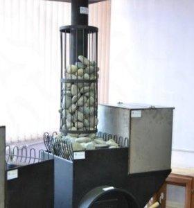 Банная печь с сеткой каменкой на трубе.