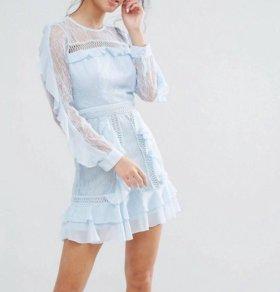 Платье кружевное нежно-голубой цвет