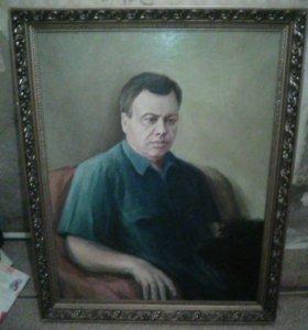 Портрет маслом на холсте в багет ной раме