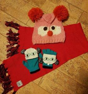 Комплект шапка, шарф, варежки на 10-11 лет