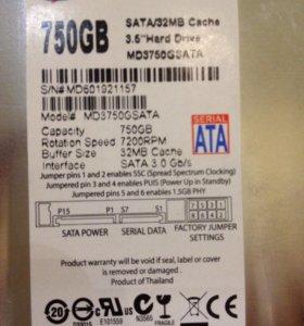 Жесткий диск внутренний 750 Gb новый