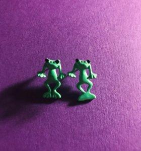 Сережки «Лягушки» | Гвоздики 🐸