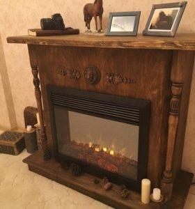 Камин электрический Нарнийский в деревянном портал