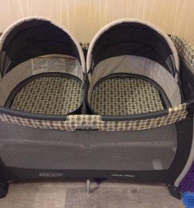 Кровать манеж для двойни