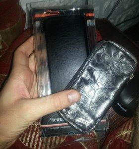 Чехол для iPhone 4/4s, кожа+подарок еще один чехол