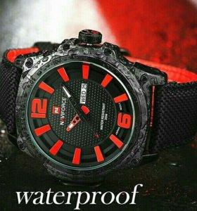 Часы влагостойкие черно красные классические