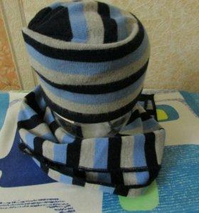 Шапка вязаная с шарфом