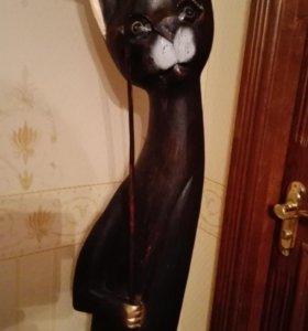 """Статуэтка деревянная """"Кот с зонтиком"""""""