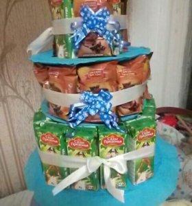 Тортик в садик (из соков и барни)