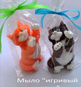 """Мыло ручной работы """"игривый кот- милаха"""""""