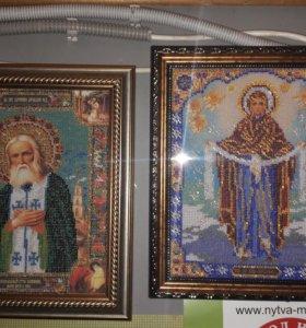 Картины алмазной мозайкой, иконы бисером.