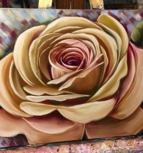 "Картина маслом на холсте ""Роза"""