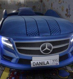 кровать машина мерседес синий