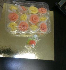 Цветы сахарные на торт