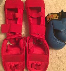 Защита голени размер S и перчатки