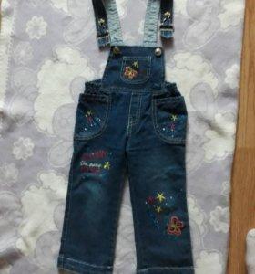 Джинсовый комбинезон и джинсы на девочку, р-р 86