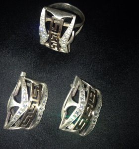 Комплект серебро с золотыми пластинами вирсачи