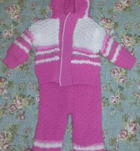 теплый вязанный костюм 6мес-1.5года