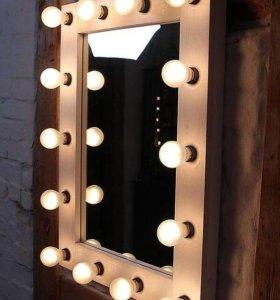 Профессиональное гримерное зеркало с лампами