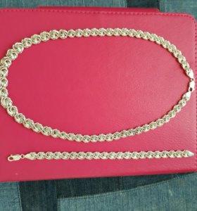 Комплект из серебра: колье и браслет