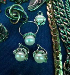 Комплект Серьги жемчуг серебро