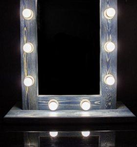 Профессиональное макияжное зеркало с лампами