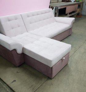 Угловой диван с оттоманкой