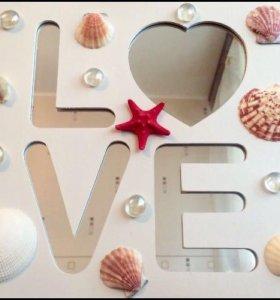 "Фоторамка с зеркалом ""LOVE"""