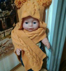 Шапочка и шарфик для девочки 2-2.5 года