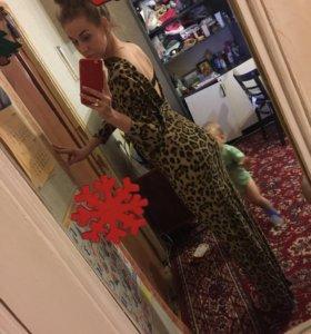 Шикарное платье в пол . Леопардовый принт
