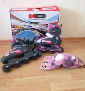 Детские раздвижные роликовые коньки с защитой