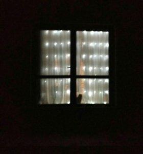 Гирлянда-дождь на стену, окно