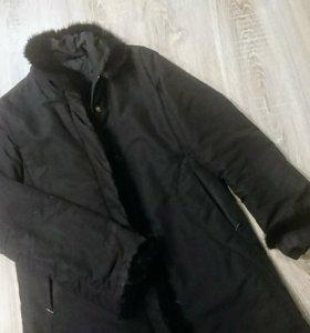 Зимнее пальто с натуральной норкой