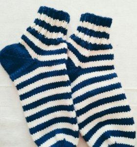 Тёплые носки ручной работы полушерсть