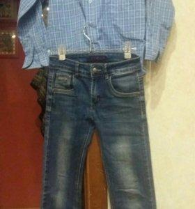 Джинсы на мальчика 11-12лет, рубашка на 9 лет